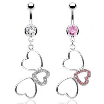 Triple CZ Love Heart Belly Dangle