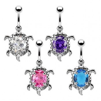 Turtle CZ Navel Ring Belly Bar