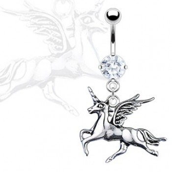 CZ Unicorn Belly Bar Ring Navel Dangle