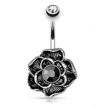 Gem Flower Navel Ring Belly Bar