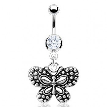 Vintage Butterfly Navel Ring Belly Dangle