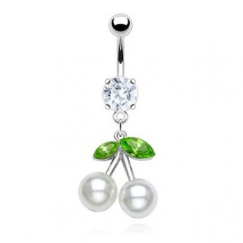 Pearl Cherry Belly Bar Navel Dangle