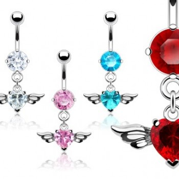 Wing Love Heart Navel Ring Belly Dangle