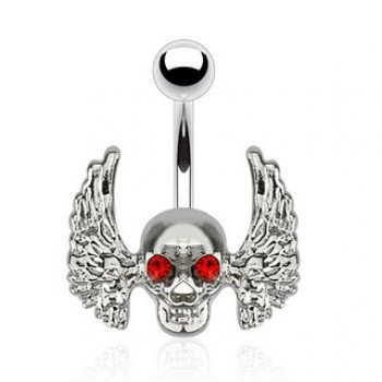 Wing Skull Belly Ring Navel Bar