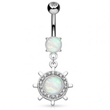 Yacht Wheel Belly Ring Navel Dangle