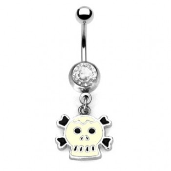 Enamel Skull Navel Dangle