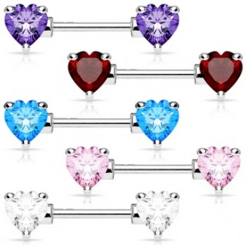 CZ Heart Nipple Bar