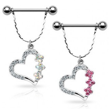 Gem Heart Flower Dangle Nipple Shield