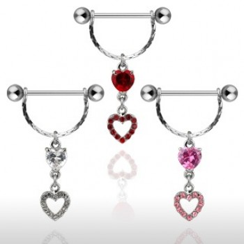 CZ Heart Dangle Nipple Shield