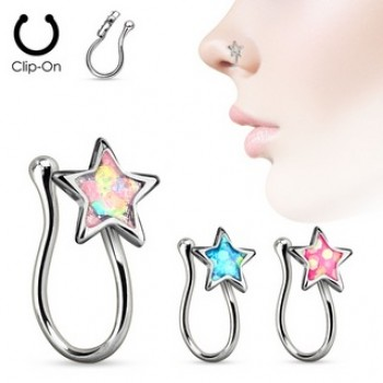 Opal Star Clip On Nose Ring