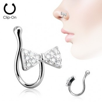CZ Ribbon Bow Tie Fake Clip On Nose Ring