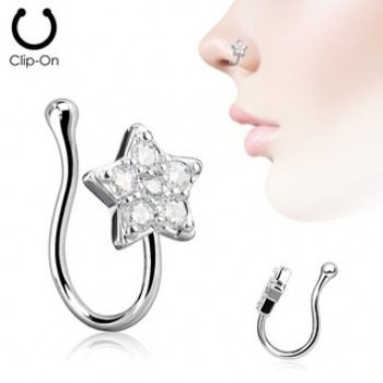 CZ Star Fake Clip On Nose Ring