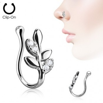 CZ Leaves Fake Clip On Nose Ring