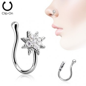 CZ Starburst Fake Clip On Nose Ring