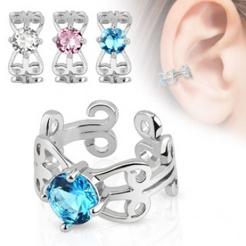 CZ Swirl Fake Ear Ring Cuff