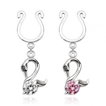 Swan Fake Dangle Clip On Nipple Ring