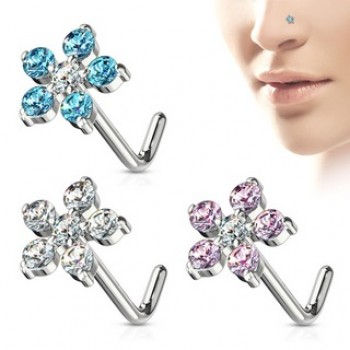 CZ Flower Nose Stud L Bend