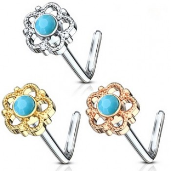 Flower L Bend Nose Stud