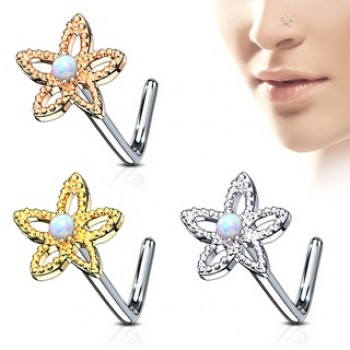 Opal Flower Nose Stud L Bend