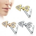 CZ Arrow L Bend Nose Stud