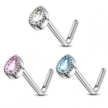 Gem Teardrop Nose Stud L Bend