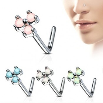 Triangle Opalite Nose Stud L Bend