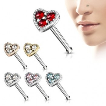 CZ Love Heart Nose Stud