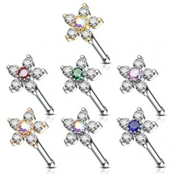 CZ Flower Nose Stud Bar