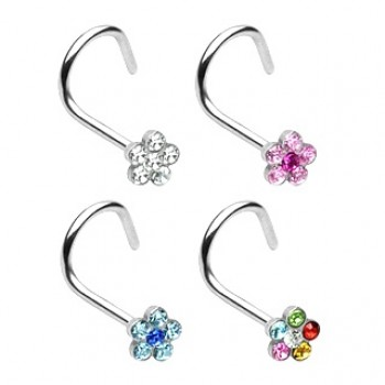 Flower Gem Nose Twist