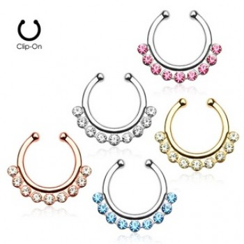 Gem Fake Clip On Septum Hanger