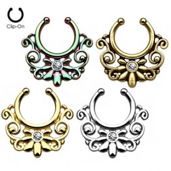 Gem Swirl Fake Clip On Septum Hanger