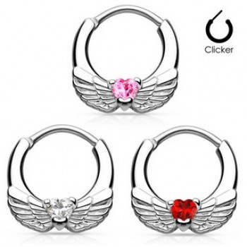 Heart Wing Septum Clicker Ring