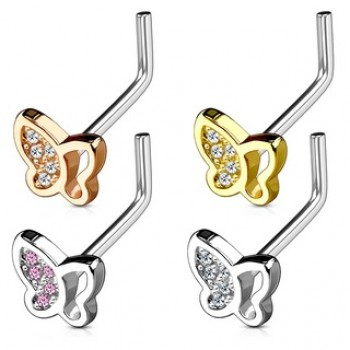 L Bend Butterfly Nose Stud
