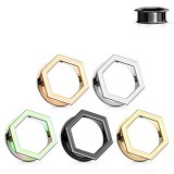 Hexagon Front Double Flare Ear Tunnel
