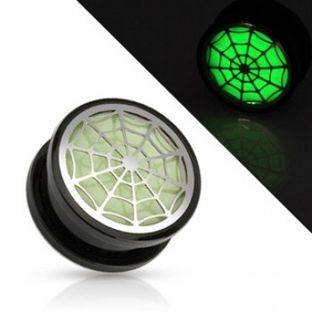 Glow In The Dark Spider Web Screw Ear Plug