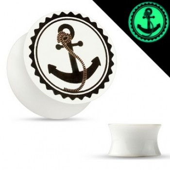 Glow In The Dark Anchor Saddle Ear Plug