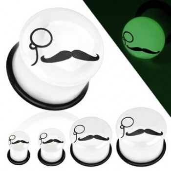 Mustache Monocle Glow In The Dark Ear Plug