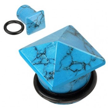 Turquoise Stone Pyramid Top Ear Plug