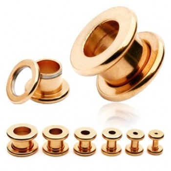 Rose Gold IP Screw Ear Tunnel
