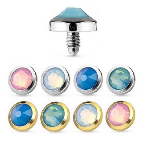 Gold IP Green Opalite Gem Surgical Steel Dermal Anchor Body Jewelry 3mm 4mm 5mm