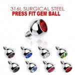 Dermal Anchor Internally Threaded Gem Ball