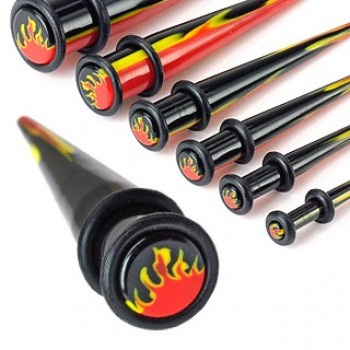 Flame Inlayed Ear Taper