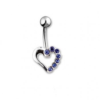 Silver Hollow CZ Love Heart Navel Ring