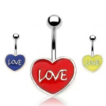 Love Heart Belly Bar Navel Ring